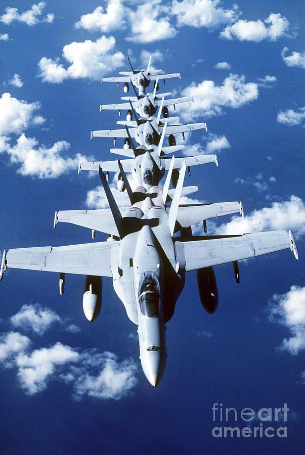 Vertical Photograph - Fa-18c Hornet Aircraft Fly In Formation by Stocktrek Images