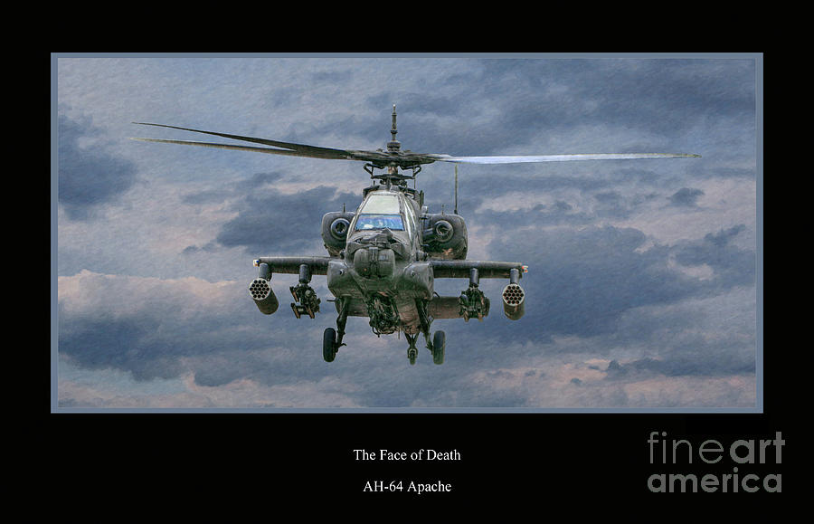 Apache Sunset Digital Art - Face Of Death Ah-64 Apache Helicopter by Randy Steele