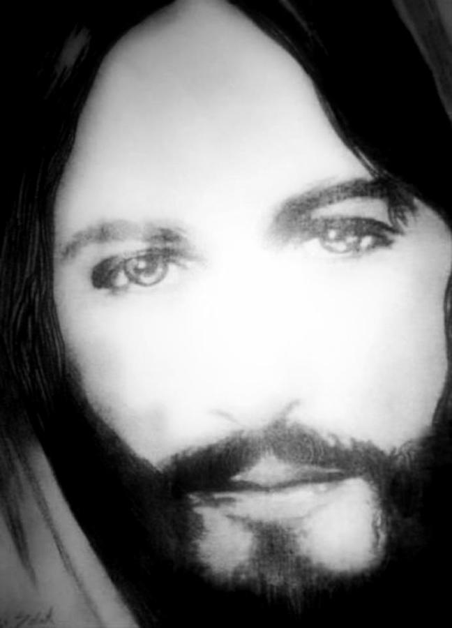 Portrait Of Jesus Messiah Jesus Likeness Icon Religious Christmas Easter Greetings Card Black And White Yeheshuah Eyes Expression Realistic Superstar Pencil Drawing Graphite Drawing Drawing - Face Of Jesus by Susan  Solak