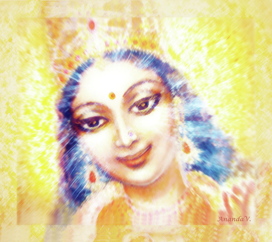Goddess Painting Mixed Media - Face Of The Goddess - Lalitha Devi - Light by Ananda Vdovic