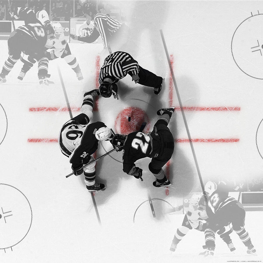 Ice Digital Art - Face Off Ice Hockey by Lucas Armstrong