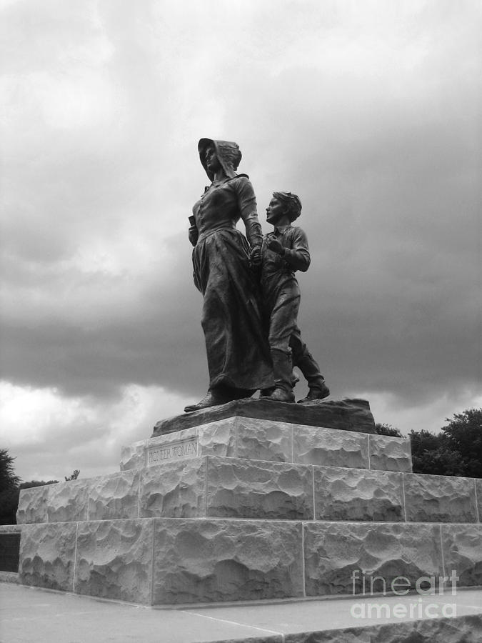 Pioneer Woman Statue Photograph - Facing The Storm Pioneer Woman Statue Oklahoma Icon   by Ann Powell
