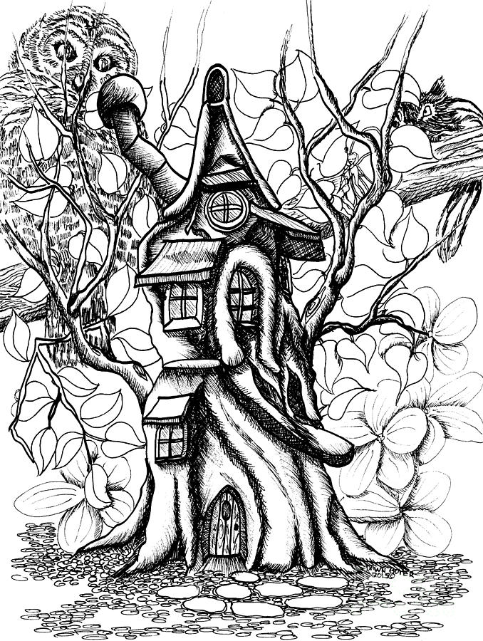 Fairy treehouse owl and chipmunk drawing by dawn boyer for Fairy house coloring pages
