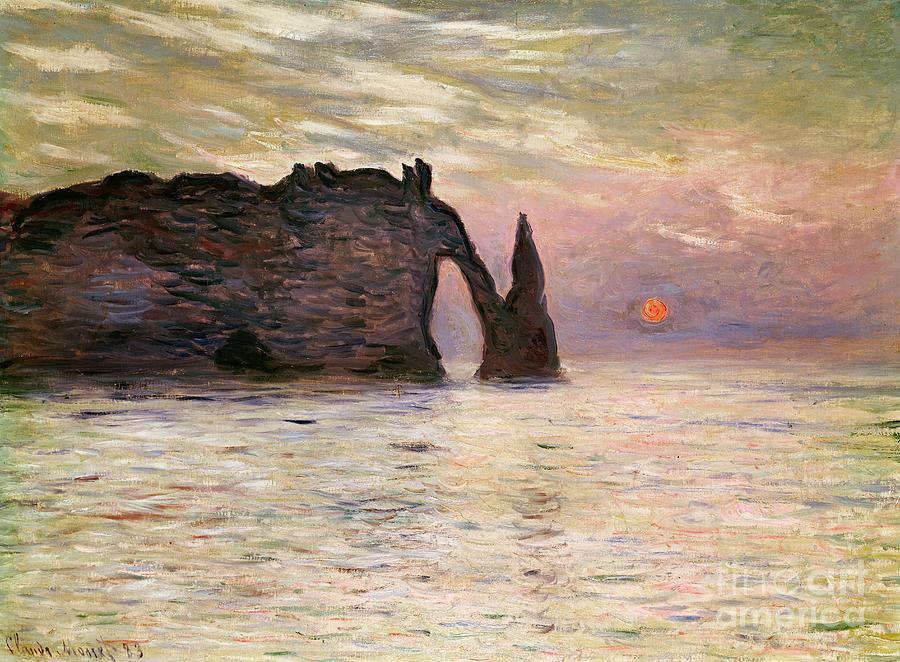 Falaise Painting - Falaise Detretat by Claude Monet