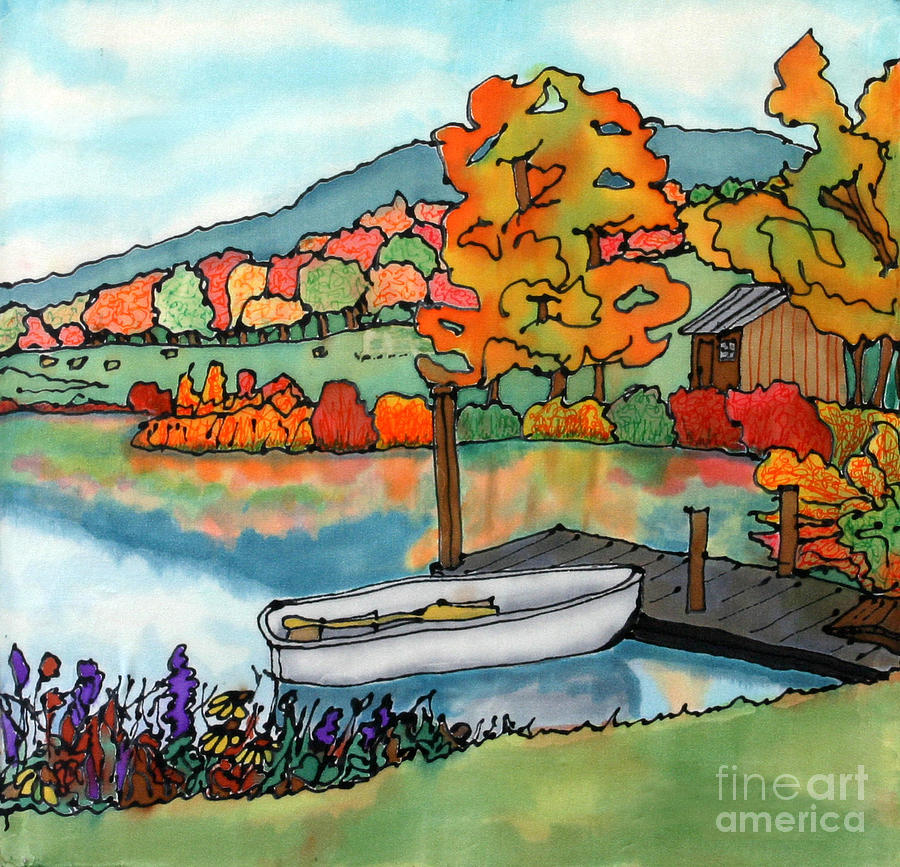 Fall Boat And Dock Painting