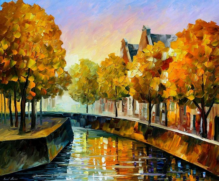 Fall In Amsterdam Palette Knife Oil Painting On Canvas