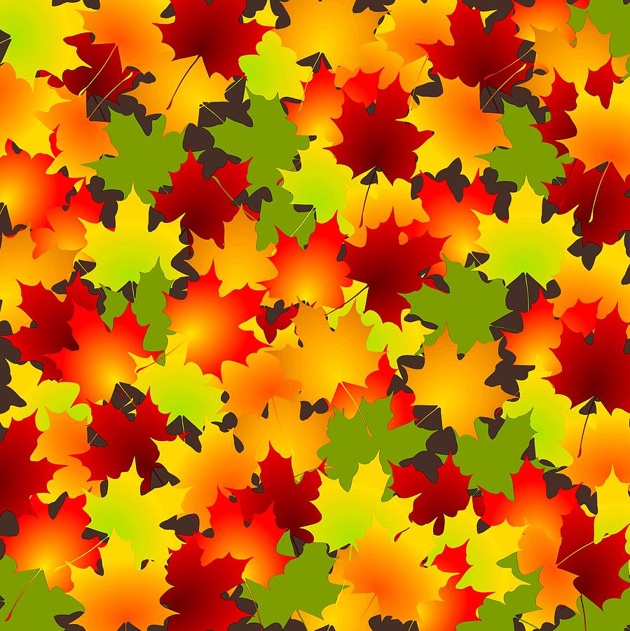 Fall Digital Art - Fall Leaves Quilt by Anastasiya Malakhova