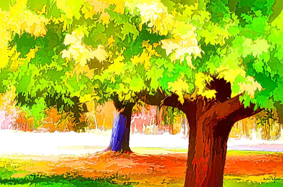 Fall Leaves Trees Painting - Fall Leaves Trees 1 by Lanjee Chee