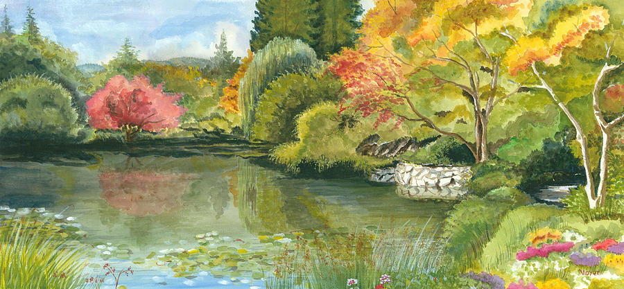 Acrylic Landscape Painting - Fall Reflections Butchart Gardens by Vidyut Singhal