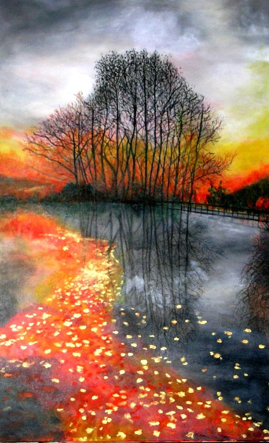 Fall Sunset By The River Painting