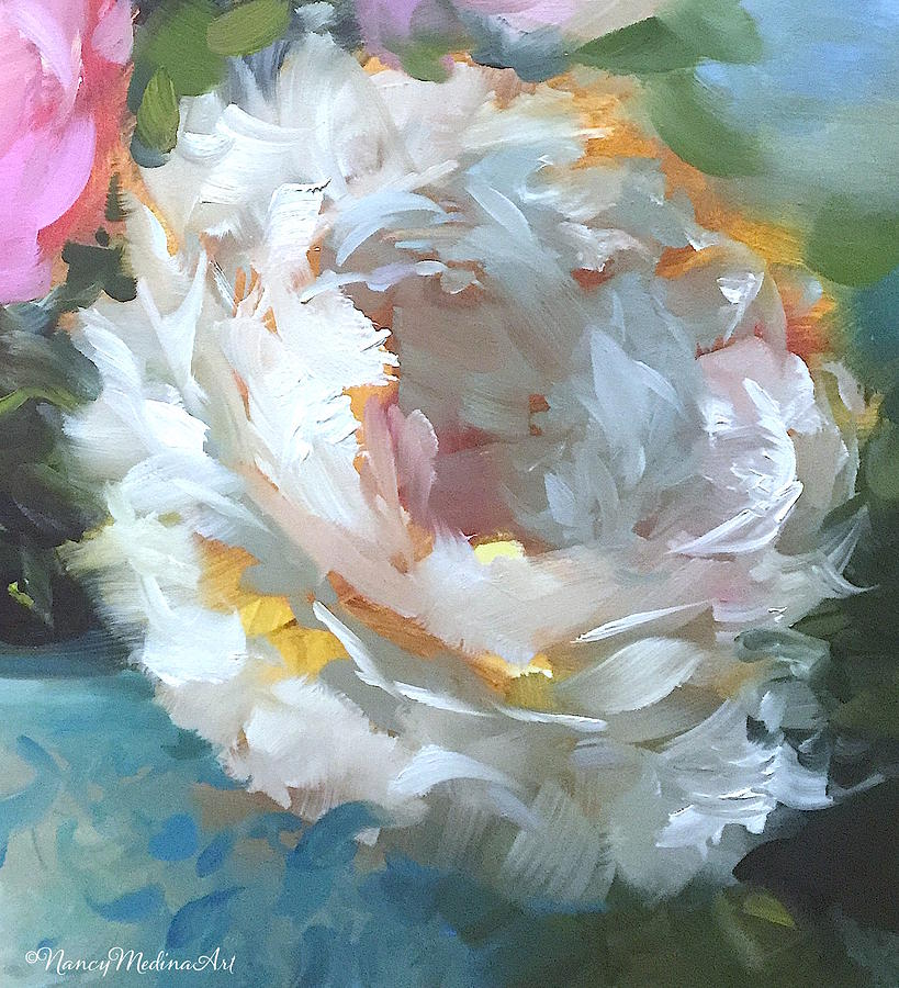 Fall To Earth White Peony Painting by Nancy Medina