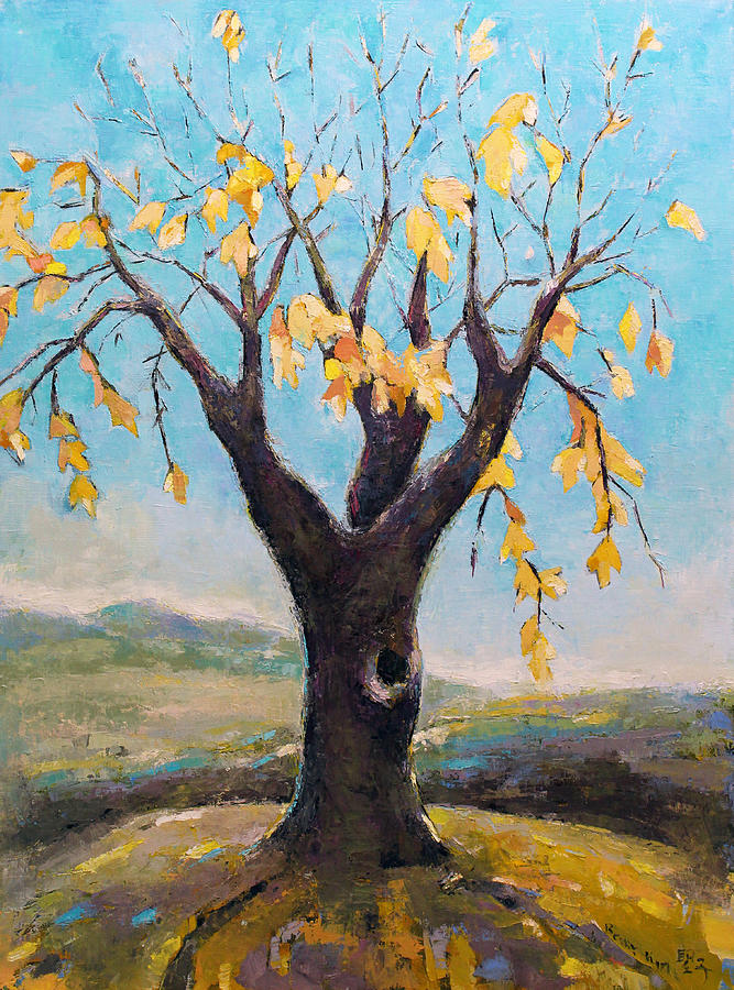 Tree Painting - Fall Tree In Virginia by Becky Kim