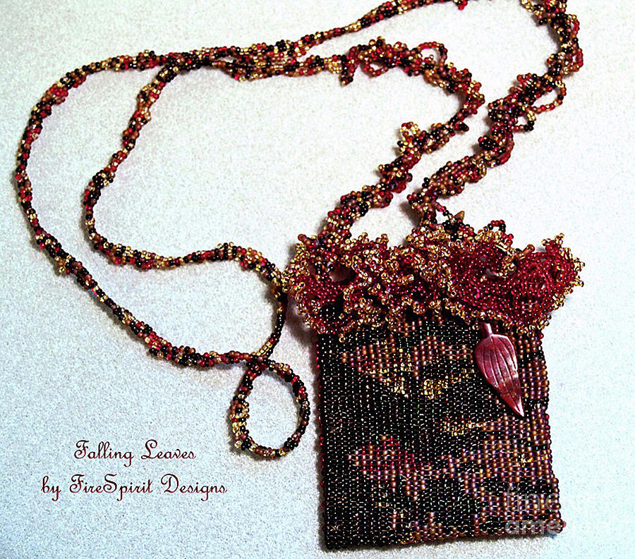 Wearable Art Tapestry - Textile - Falling Leaves by Patricia Griffin Brett