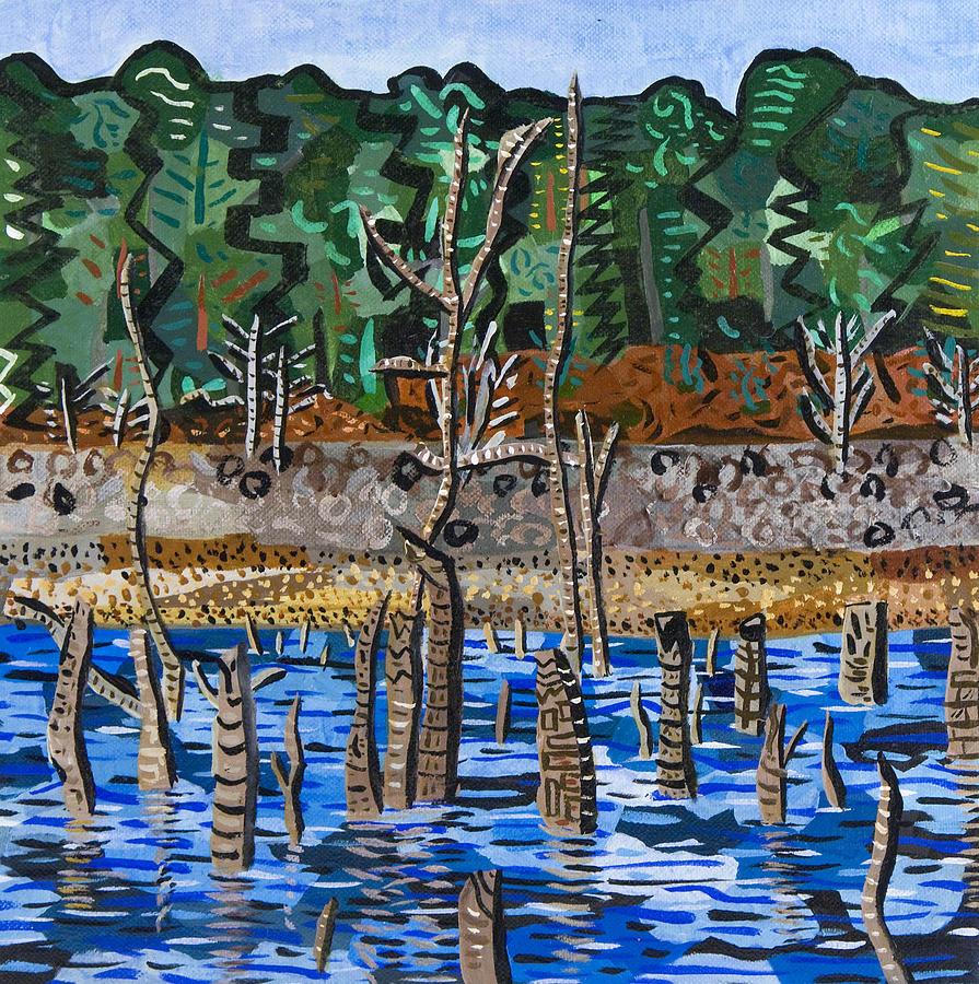 Landscape Abstract Falls Lake Raleigh North Carolina Acryild Painting - Falls Lake At Six Forks Road by Micah Mullen