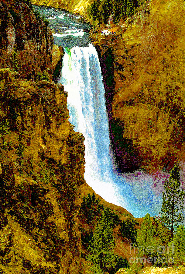 Yellowstone National Park Painting - Falls Of The Yellowstone by David Lee Thompson
