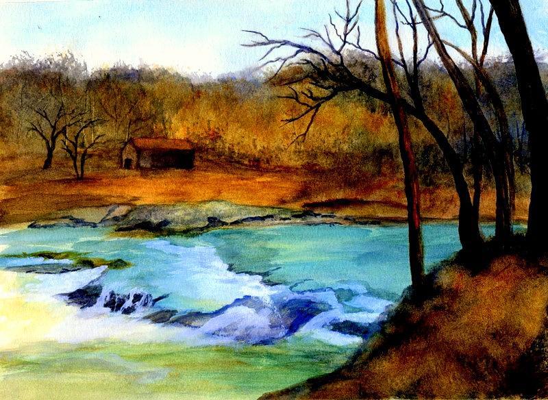 Waterfall Painting - Fallsburg Ky Falls by Gail Kirtz