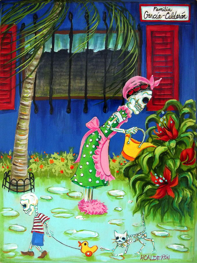 Familia Garcia Calderon Painting by Heather Calderon