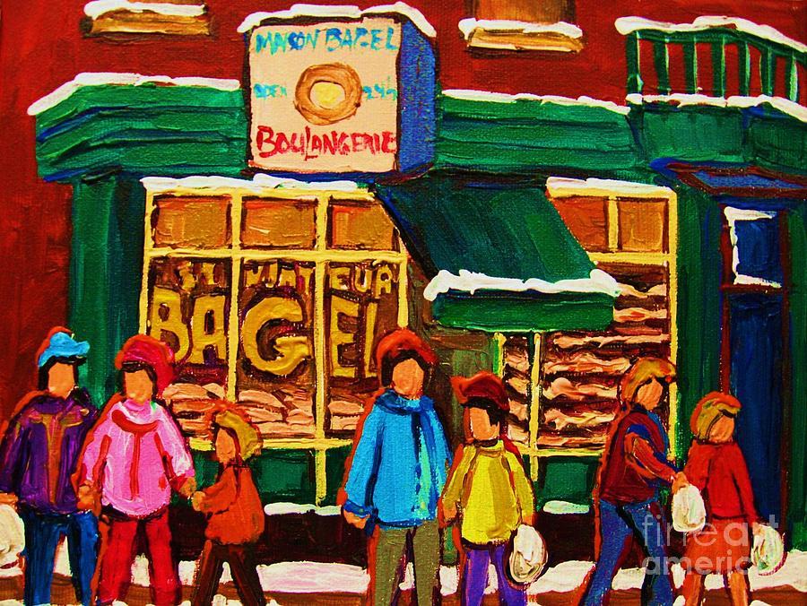 St.viateur Bagel Painting - Family  Fun At St. Viateur Bagel by Carole Spandau