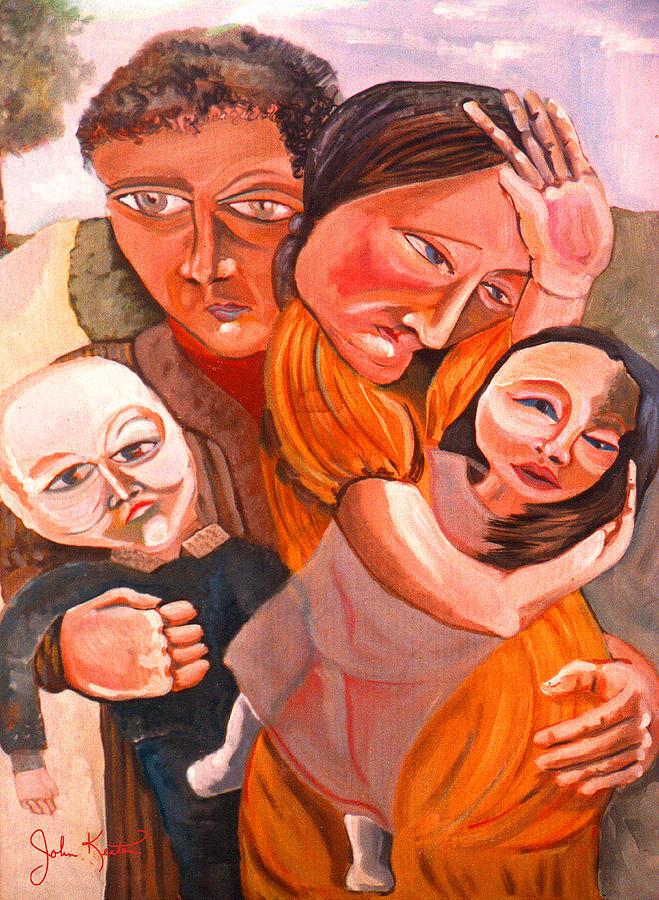 Family Painting - Family Struggle by John Keaton