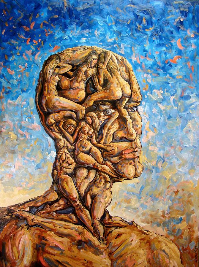 Surrealism Painting - Fantasies Of A 120 Years Old Man Struggling To Survive by Darwin Leon