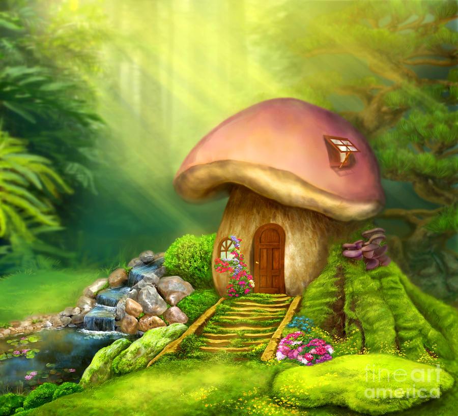 Fantasy Mushroom House Digital Art by Alena Lazareva