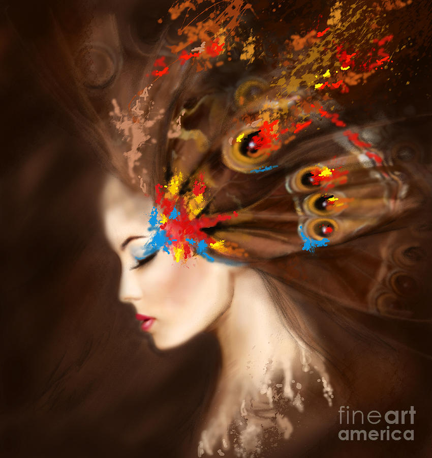 Fantasy Portrait Beautiful Woman Butterfly Digital Art By