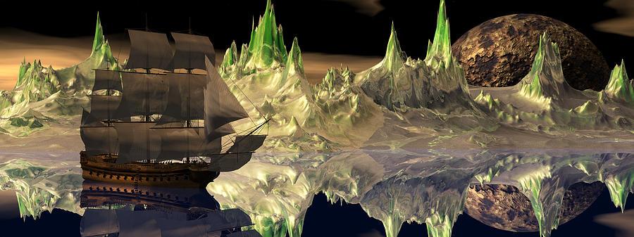 Bryce 3d Scifi Fantasy Windjammer sailing Ship Sailing Digital Art - Fantasy Quest by Claude McCoy