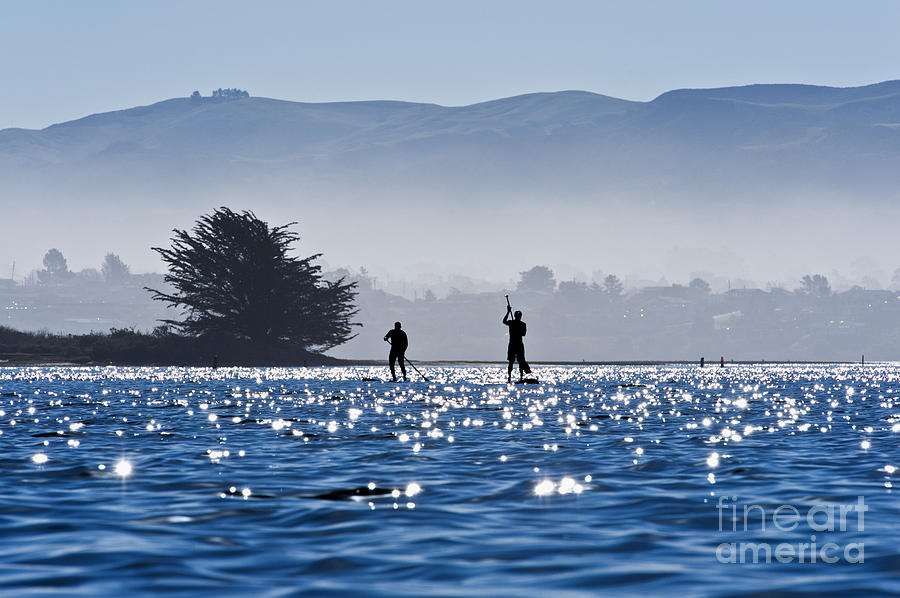 Active Photograph - Faraway Paddle Boarders In Morro Bay by Bill Brennan - Printscapes