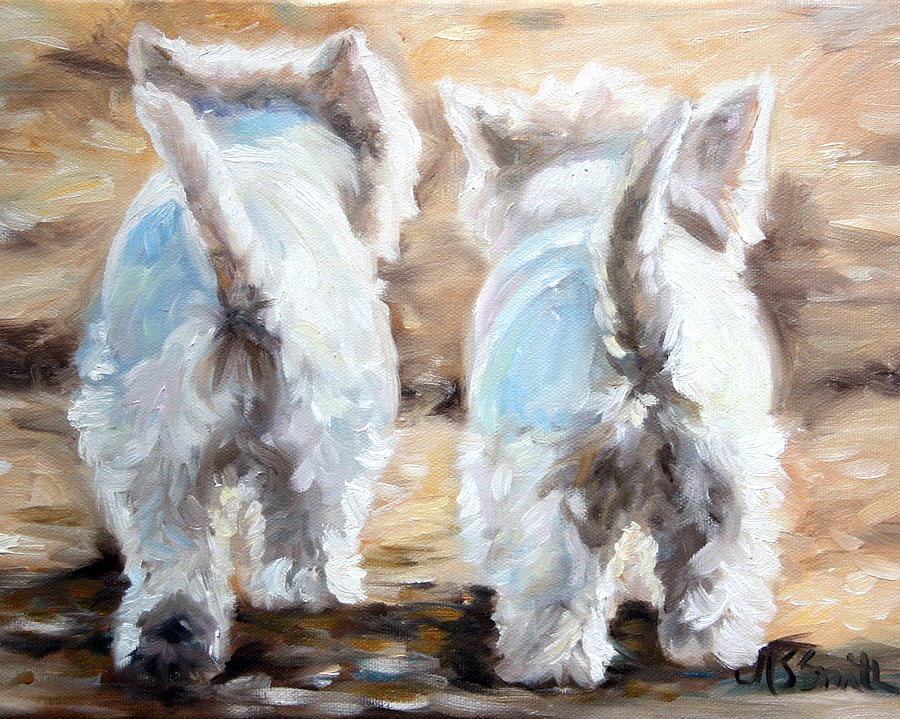 Westie Painting - Farewell by Mary Sparrow