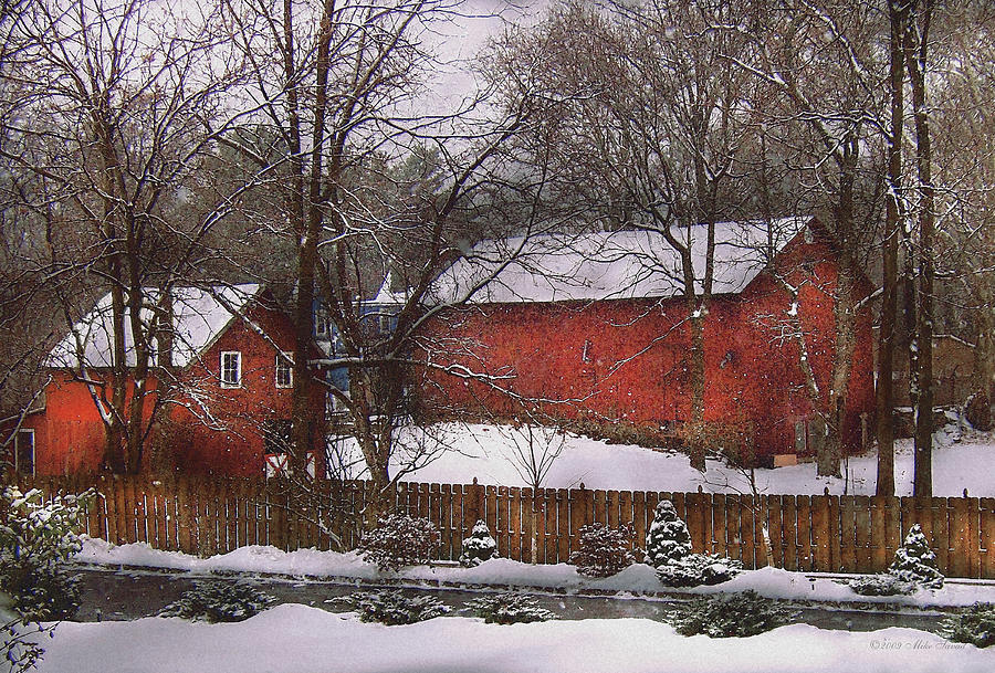 Savad Photograph - Farm - Barn - Winter In The Country  by Mike Savad