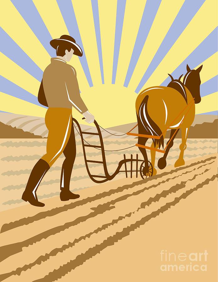 Farmer And Horse Plowing Digital Art