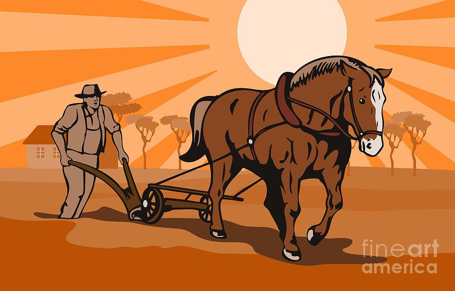 Plow Digital Art - Farmer Plowing Field by Aloysius Patrimonio