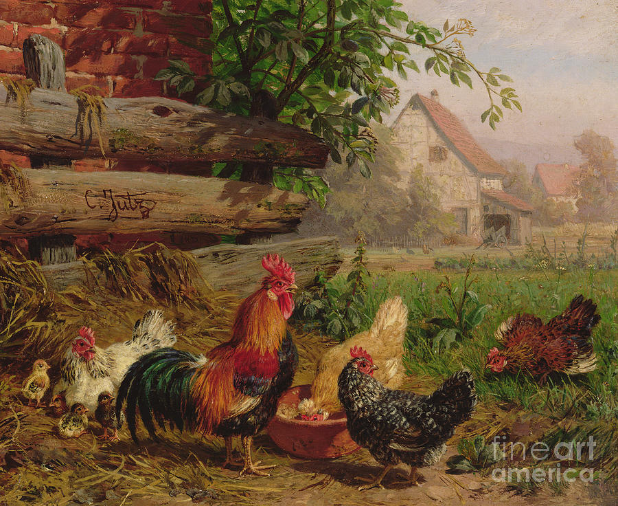 Farmyard Chickens Painting By Carl Jutz