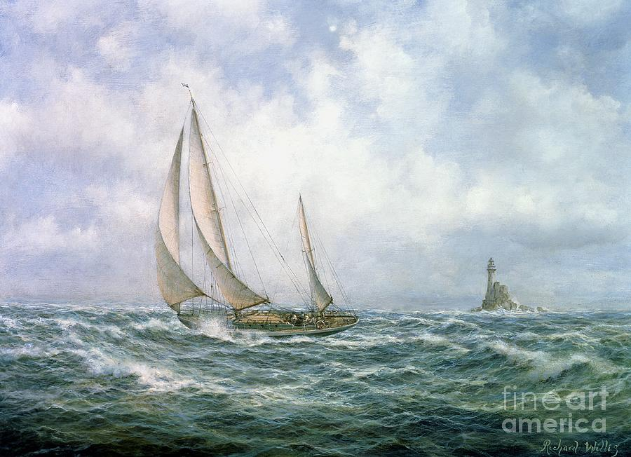 Seascape; Sea; Water; Sailing; Sail Boat; Boat; Lighthouse; Rock; Rocks; Rocky; Sky; Cloud; Clouds; Wave; Waves Painting - Fastnet Abeam by Richard Willis