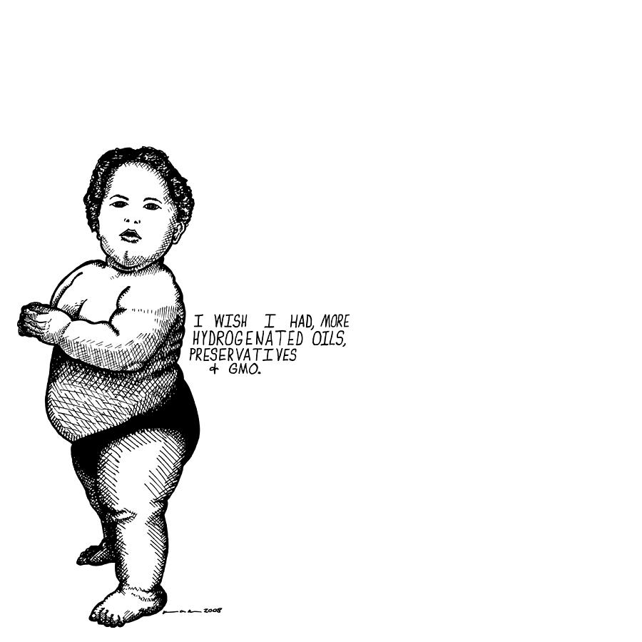 Drawing Drawing - Fat Baby by Karl Addison