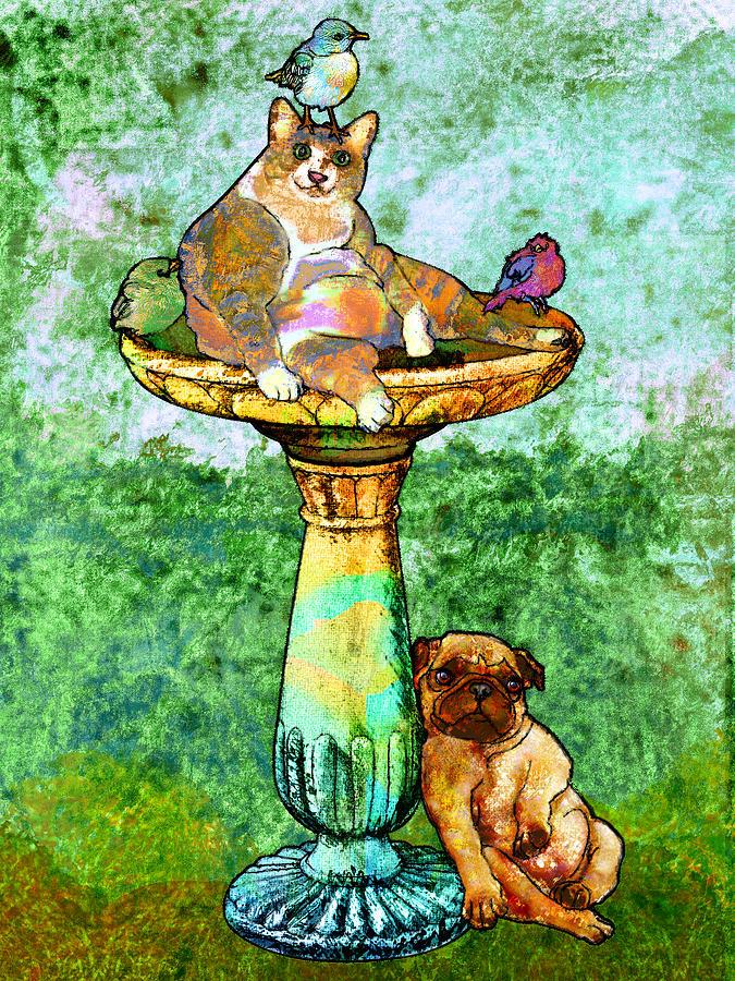 Fat Cat And Pug Digital Art