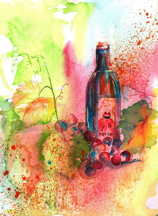 Fat Cat Painting - Fat Cat Wine by Sharon Mick