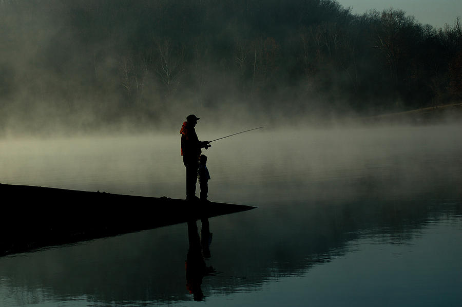 Father And Son Fishing Photograph