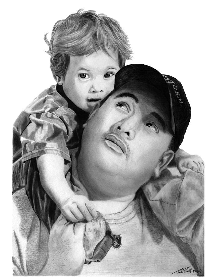 Father And Son Drawing - Father And Son  by Peter Piatt