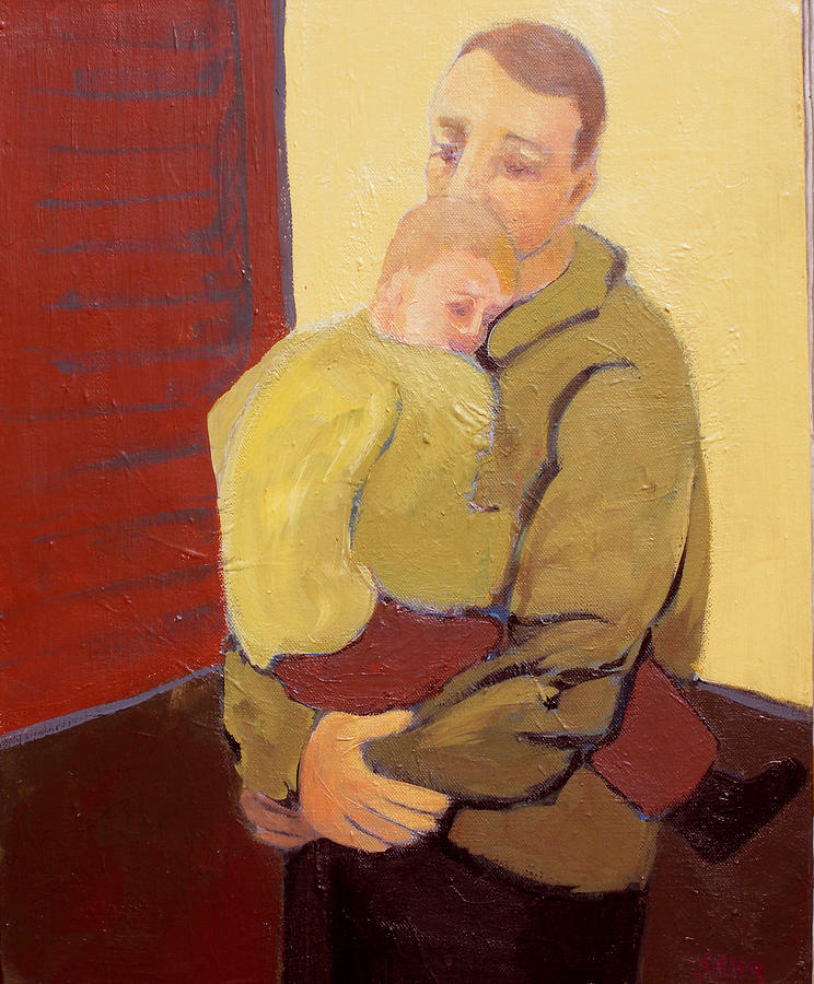 Child Painting - Father And Son by Renee Kahn