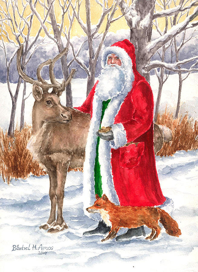 Old Father Christmas Painting - Father Christmas by Barbel Amos