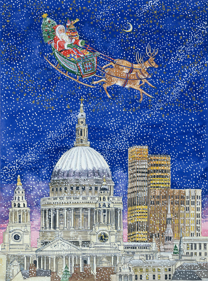 Eve; St;paul's Cathedral; Snowing; Sleigh; Reindeer; Presents; Tree; Gifts; Santa Claus; City; Sky Scraper Painting - Father Christmas Flying Over London by Catherine Bradbury