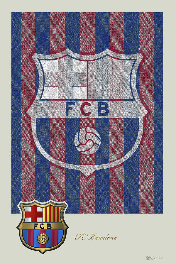 'fc Badges' Collection By Serge Averbukh Digital Art - Fc Barcelona Logo And 3d Badge by Serge Averbukh