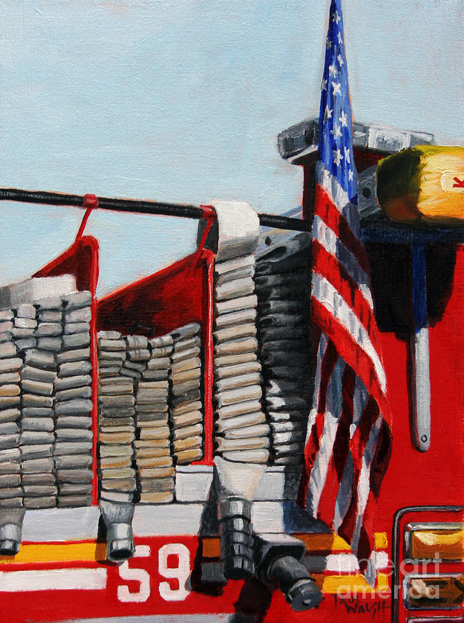 Fdny Painting - Fdny Engine 59 American Flag by Paul Walsh