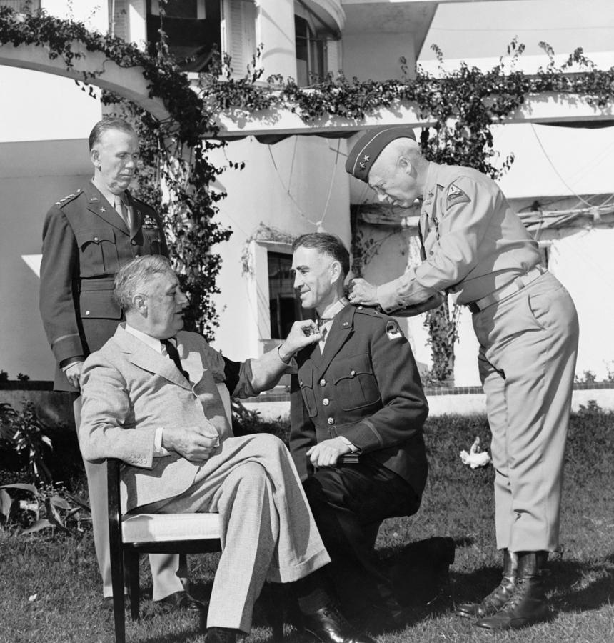 Franklin Roosevelt Photograph - Fdr Presenting Medal Of Honor To William Wilbur by War Is Hell Store