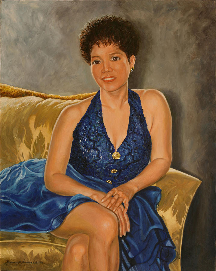 Oil Portrait Painting - Felicidad by Rosencruz  Sumera