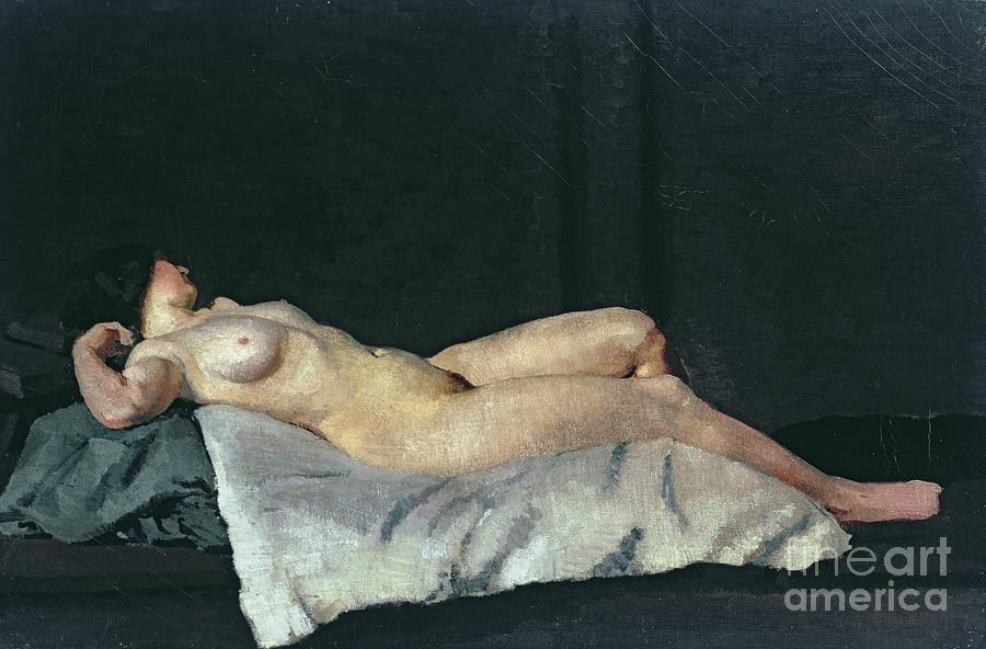 Female Figure Lying On Her Back Painting - Female Figure Lying On Her Back by Dora Carrington