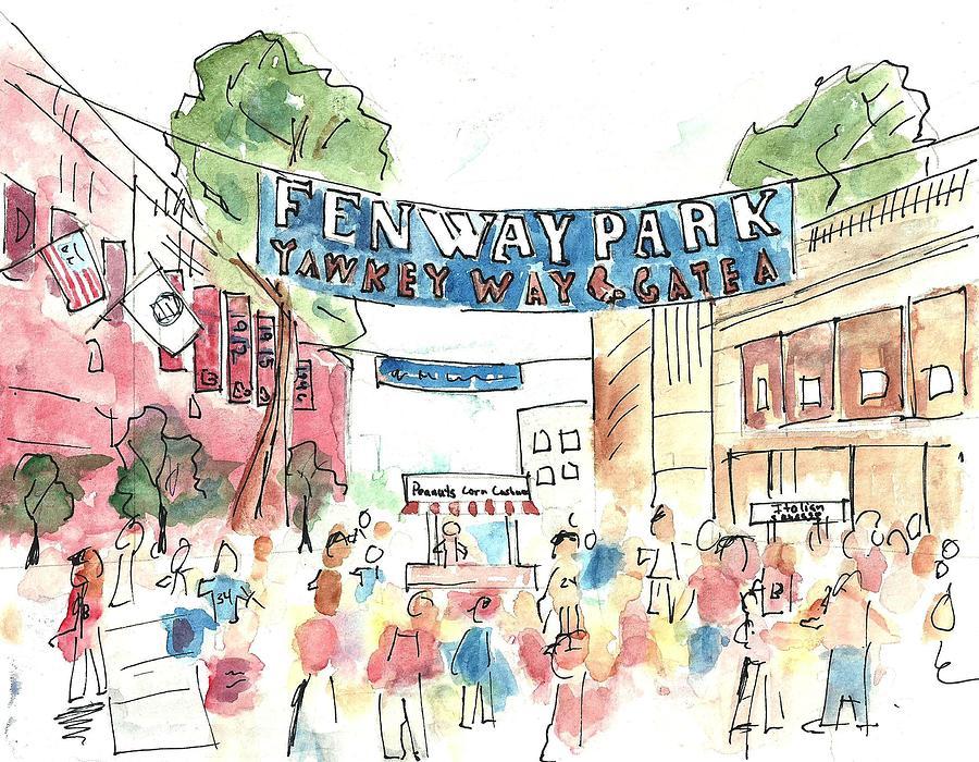 Baseball Painting - Fenway Park by Matt Gaudian