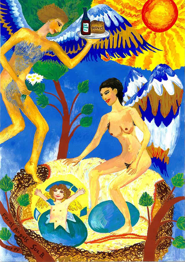Sue Burgess Painting - Feral Angels by Sushila Burgess
