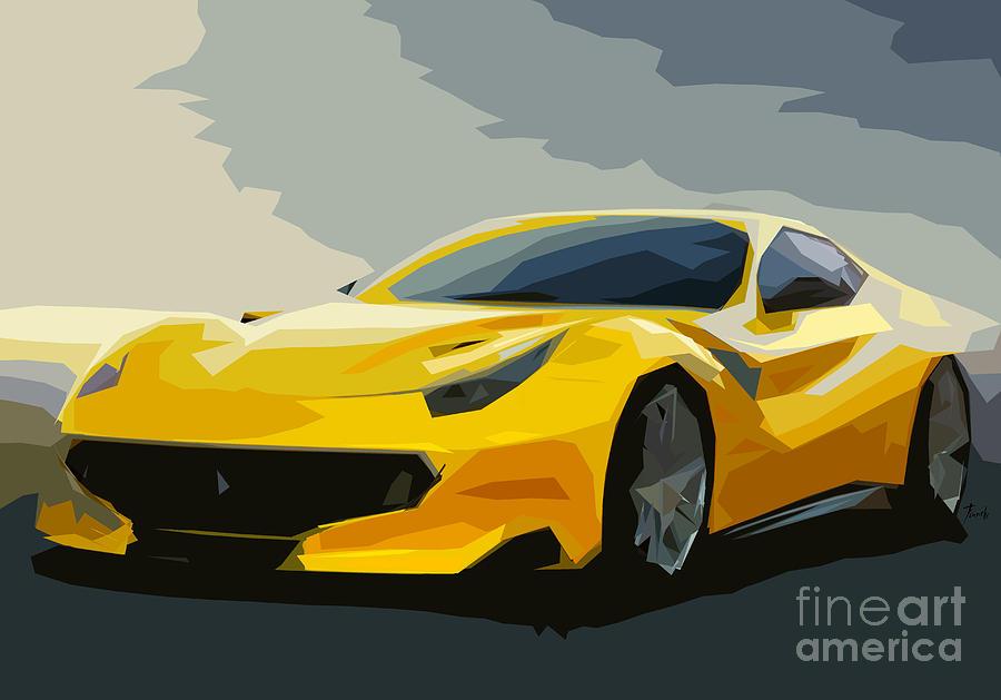 Ferrai F12 Yellow Fast Car Digital Art By Pablo Franchi